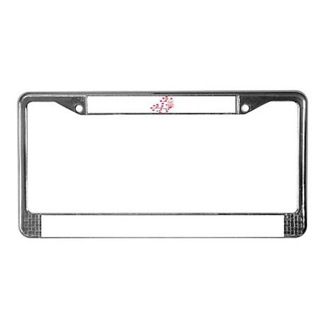 Pink Cherry Blossom Owl License Plate Frame