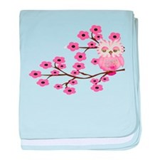 Pink Cherry Blossom Owl baby blanket
