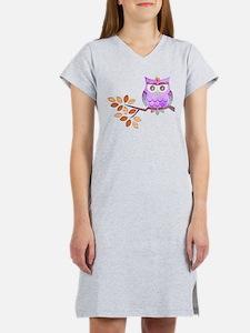 Purple Flower Owl in Tree Women's Nightshirt