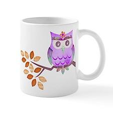 Purple Flower Owl in Tree Mug