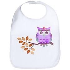 Purple Flower Owl in Tree Bib
