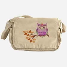 Purple Flower Owl in Tree Messenger Bag