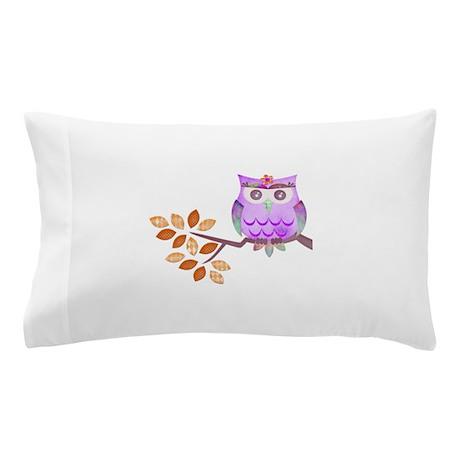 Purple Flower Owl in Tree Pillow Case