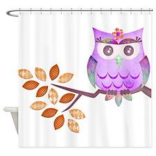 Purple Flower Owl in Tree Shower Curtain