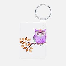 Purple Flower Owl in Tree Keychains