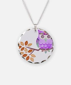 Purple Flower Owl in Tree Necklace