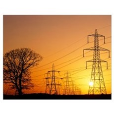 Pylons and power lines at sunset Poster