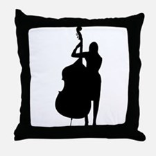 Double Bass Player Throw Pillow
