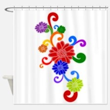 Retro Rainbow Flowers Shower Curtain