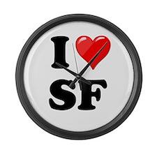 I Heart Love SF San Francisco.png Large Wall Clock