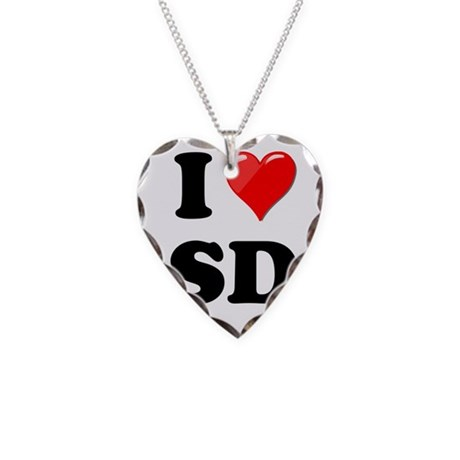 I Heart Love SD San Diego.png Necklace Heart Charm