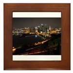 Downtown Pittsburgh Illuminated 1 Framed Tile