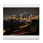 Downtown Pittsburgh Illuminated 1 Tile Coaster