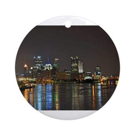 Downtown Pittsburgh Illuminated 3 Ornament (Round)