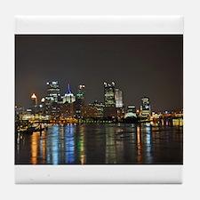 Downtown Pittsburgh Illuminated 3 Tile Coaster