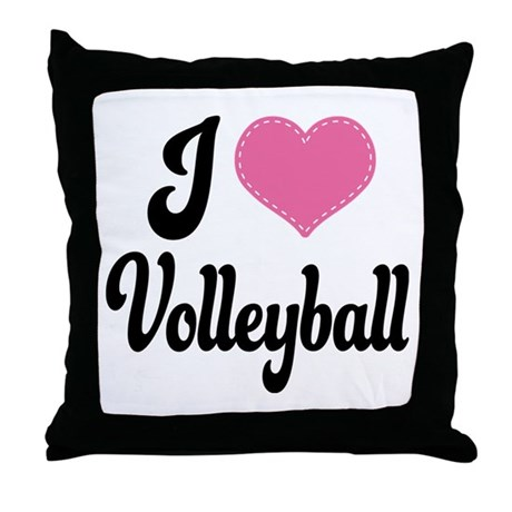 I Love Volleyball Throw Pillow by StitchHeartTshirts