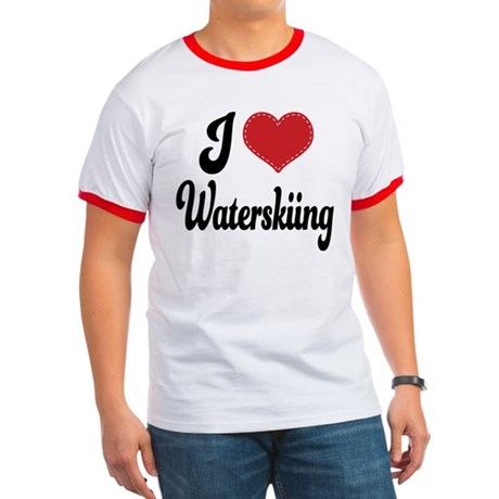 I Love Waterskiing Ringer T