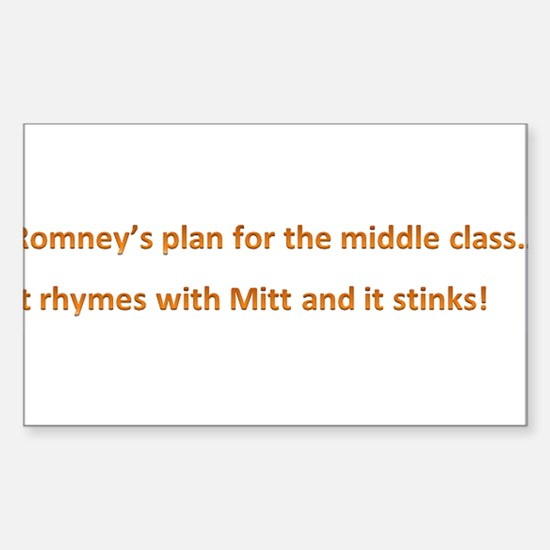 Romney's Middle Class Sticker (Rectangle)