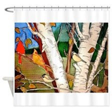Cute Autumn birch Shower Curtain
