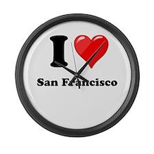 I Heart Love San Francisco.png Large Wall Clock
