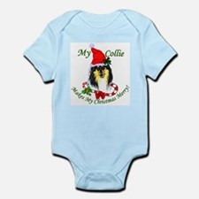 Tri-Color Collie Christmas Infant Creeper