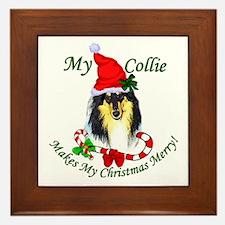 Tri-Color Collie Christmas Framed Tile
