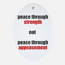 Peace through Strength Oval Ornament
