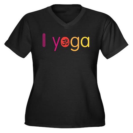 Yoga Town - I YOGA Women's Plus Size V-Neck Dark T