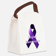Purple Ribbon Lupus Awareness Canvas Lunch Bag