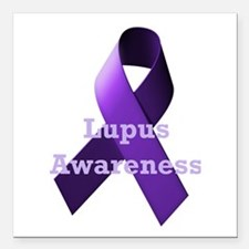 Purple Ribbon Lupus Awareness Square Car Magnet 3""