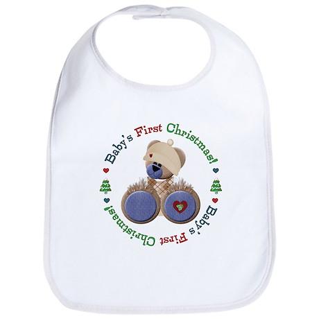 Teddy Bear 1st Christmas Bib