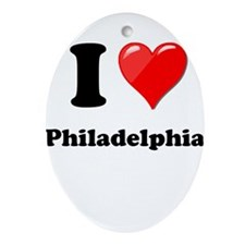I Heart Love Philadelphia.png Ornament (Oval)