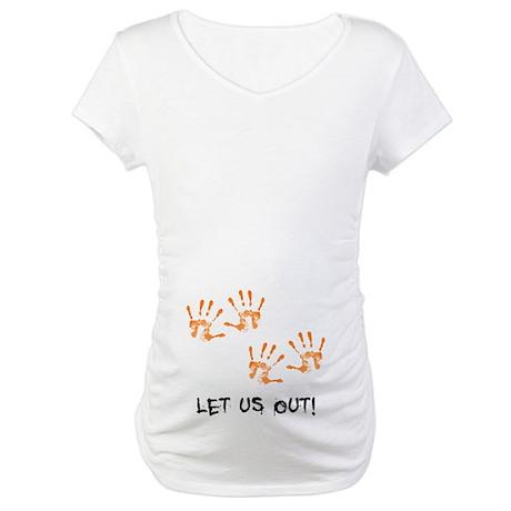 CafePress - Twin Hand Prints Maternity T-Shirt