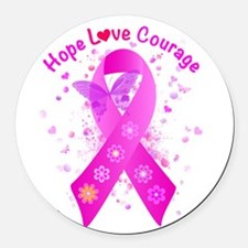 Breast Cancer Support Round Car Magnet