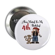 Pirate Party 4th Birthday Button