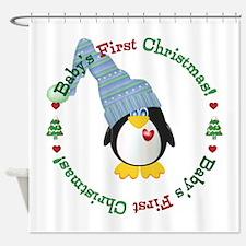 #2 Penguin 1st Christmas Shower Curtain