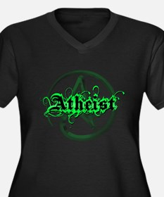 Atheist Green Women's Plus Size V-Neck Dark T-Shir