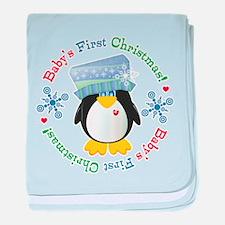 #5 Penguin 1st Christmas baby blanket