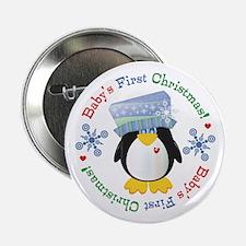 """#5 Penguin 1st Christmas 2.25"""" Button"""