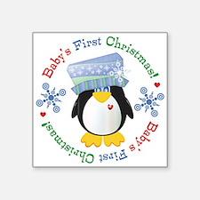 "#5 Penguin 1st Christmas Square Sticker 3"" x 3"""