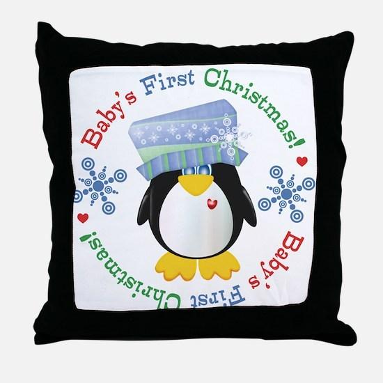 #5 Penguin 1st Christmas Throw Pillow