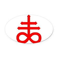 Hermetic Alchemical Cross Oval Car Magnet