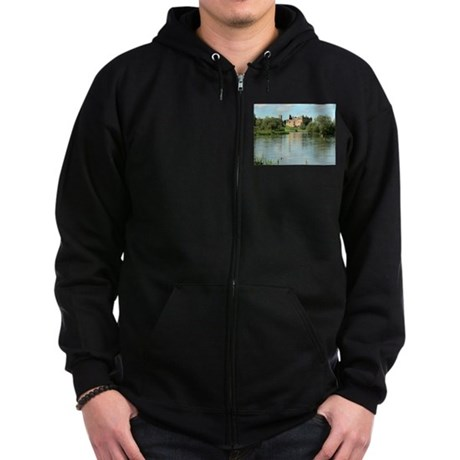 Linlithgow Palace and Loch 1371 Zip Hoodie (dark)