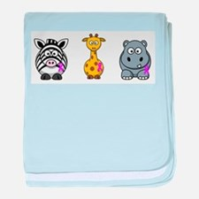 breast cancer cartoon animalslrg.png baby blanket