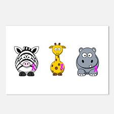 breast cancer cartoon animalslrg.png Postcards (Pa