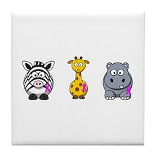 breast cancer cartoon animalslrg.png Tile Coaster