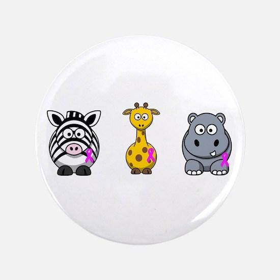 """breast cancer cartoon animalslrg.png 3.5"""" Button"""