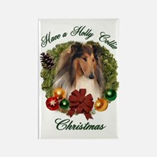 Holly Collie Christmas Rectangle Magnet (10 pack)