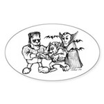 Funny Monsters Sticker (Oval)