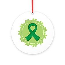 Green Ribbon Scallop Ornament (Round)